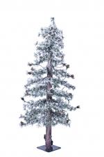 Пихта Токио стройная с маленькими шишками заснеженная 120 см. 50 LED