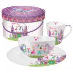 Набор для завтрака кружка и миска и тарелка в подарочной коробке Princess Castle