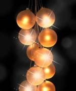 Гирлянда из 10 матовых стеклянных шаров с Led лампой внутри (диам. 10 см, длина 70 см).