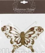 Бабочка на прищепке (золото) 16 см