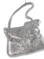 Елочное украшение Сумочка. 11см. Серебро/блестки