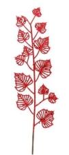 Ветка декоративная, красная, с листьями, длина 66 см.