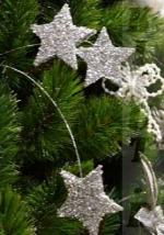Ветка декоративная Звезды, длина 63,5см, серебро/блестки
