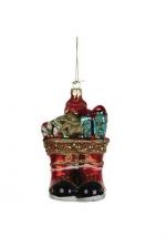 Украшение Сапожки с подарками, стекло, 13 см