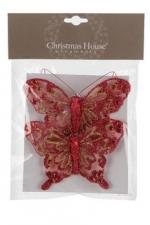 Бабочка на прищепке (красный) 12 см, 2 шт./уп.
