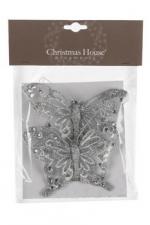 Бабочка на прищепке (серебро) 12 см, 2 шт./уп.