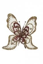 Украшение Бабочка (золото/розовый) 24 см