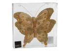 Бабочка со стразами на прищепке набор 2 шт. (золото) 15 см