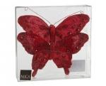 Бабочка со стразами на прищепке набор 2 шт. (красный) 15 см