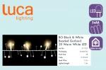Электрическая гирлянда Бусы (черный/белый) на батарейках, длина 1,8м, теплый белый свет, 20 Led ламп