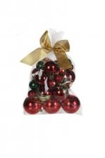 Набор елочных шаров 25 шт. (красный/изумрудный), размер упаковки 12*24*18см