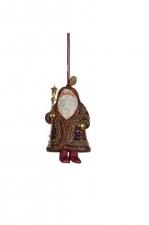 Украшение Дед Мороз (бордовый/золото), 18 см.