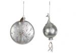 Украшение Павлин (белый/серебро), 19 см, стекло
