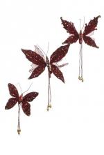 Набор из 3-х бабочек цвета бордо и пайетками, размер 25*38см