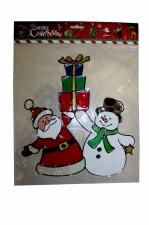 """Наклейка на стекло""""Санта со снеговиком""""27*31 см."""