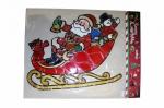 """Наклейка на стекло""""Санта в санях""""27*31 см."""
