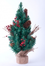 Ель настольная Минаку декоративная с ягодами, шишками и веточками 45 см.
